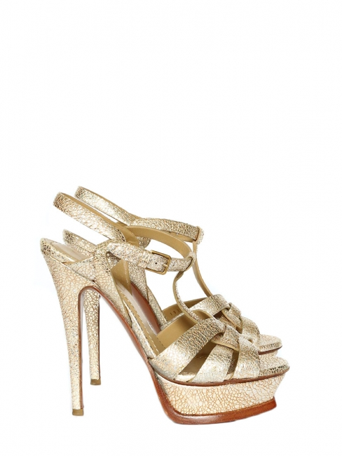 ae102c199c85 Metallic gold leather TRIBUTE stiletto sandals Retail price €650 Size 36