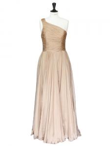 """Robe de soirée longue """"The Jerry"""" en soie plissée beige rosé Px boutique 1250€ Taille 36/38"""