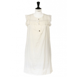Off white cotton and silk sleeveless dress NEW Retail price €600 Size 36