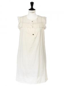 Robe sans manches en coton et soie blanc crème NEUVE Px boutique 600€ Taille 36