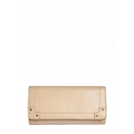 Beige pink leather with red lining long wallet Retail price €350