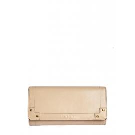 Portefeuille long en cuir beige rosé doublé rouge Px boutique 350€