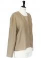 Veste col rond en lin marron kaki taupe Px boutique 200€ Taille 38