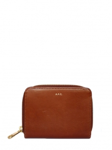 Camel brown leather golden zip wallet Retail price €180