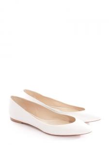 Chaussures plates bouts pointus en cuir blanc NEUVES Px boutique 420€ Taille 37,5