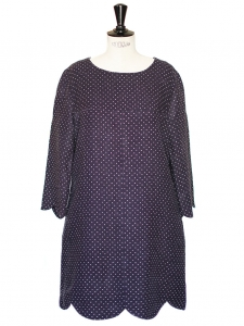 Blue white polka dots Scalloped linen and silk dress Retail price €800 Size 40