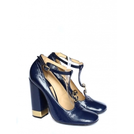 Metallic gold and midnight blue glossed leather Mary Jane pumps Retail price €700 Size 40