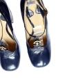 Escarpins babies en cuir glacé bleu nuit et or Px boutique 700€ Taille 40