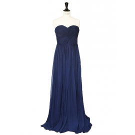 Navy blue silk chiffon strapless maxi dress Retail price €750 Size 36
