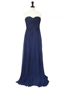 Navy blue silk chiffon strapless maxi dress Retail price €750 Size 34