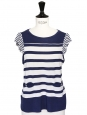 Navy blue and ecru striped jersey short sleeves top Size 38