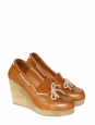 Camel brown leather and beige suede wedge loafers Retail price €330 Size 40