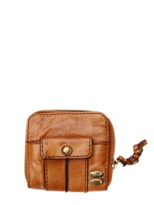 HELOÏSE Tan brown leather compact square flap wallet Retail price €350