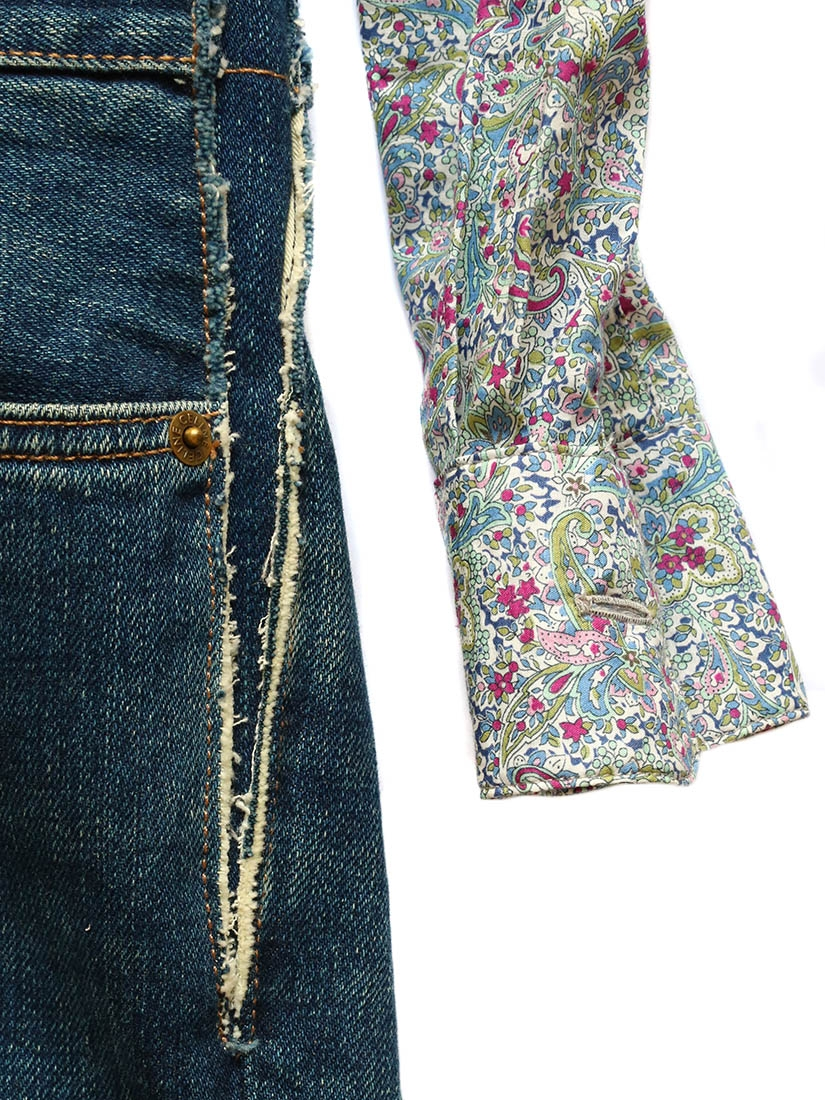 Louise Paris Celine Liberty Print Top And Denim Jeans