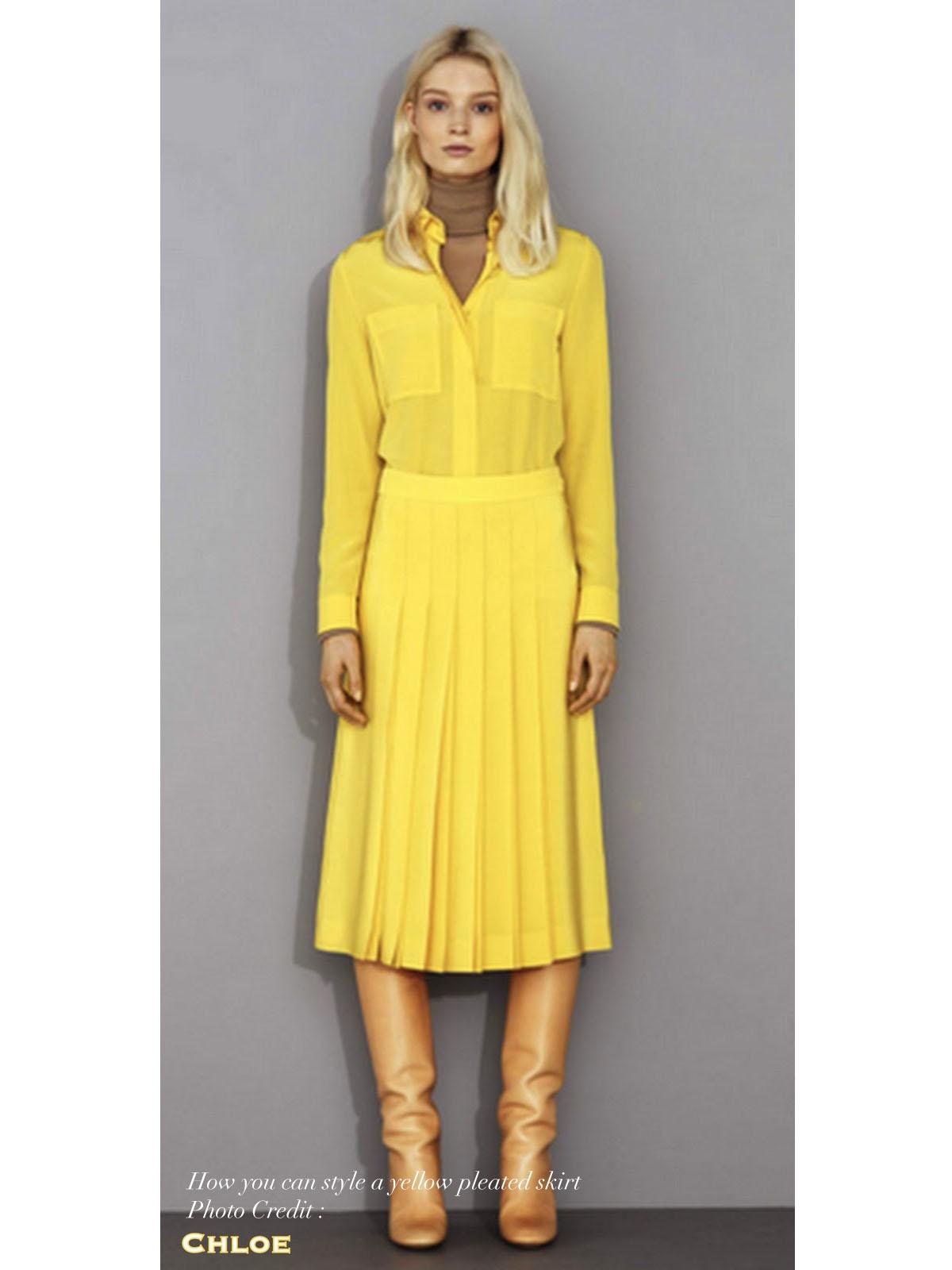 louise paris prada jupe pliss e en soie jaune px boutique 800 taille 38. Black Bedroom Furniture Sets. Home Design Ideas