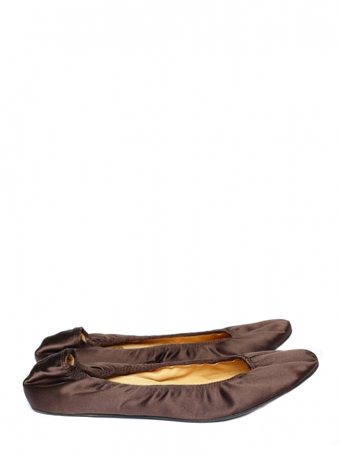 Chocolate brown silk satin flat ballerinas Retail price €325 Size 40