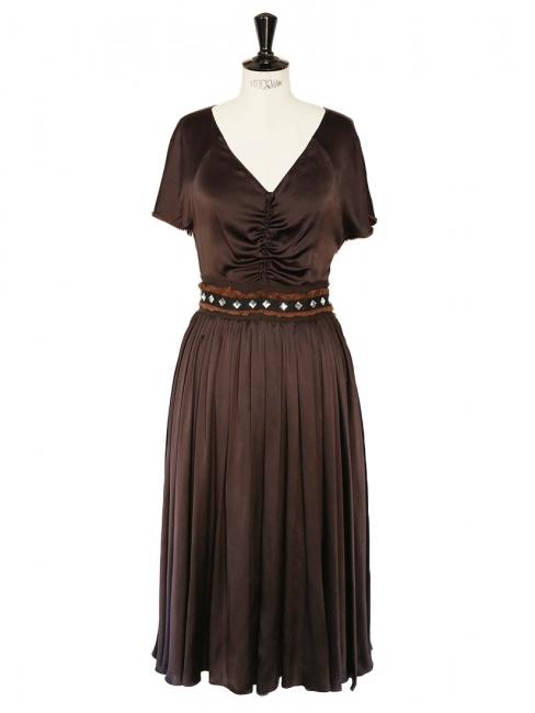 Robe en satin de soie marron et ceinture cristaux de verre Px boutique 2000€ Taille 36