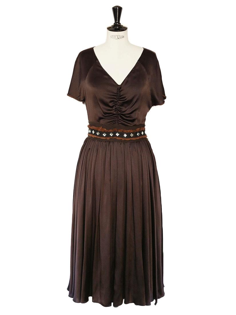 louise paris chloe robe longue en satin de soie marron et ceinture cristaux de verre px. Black Bedroom Furniture Sets. Home Design Ideas