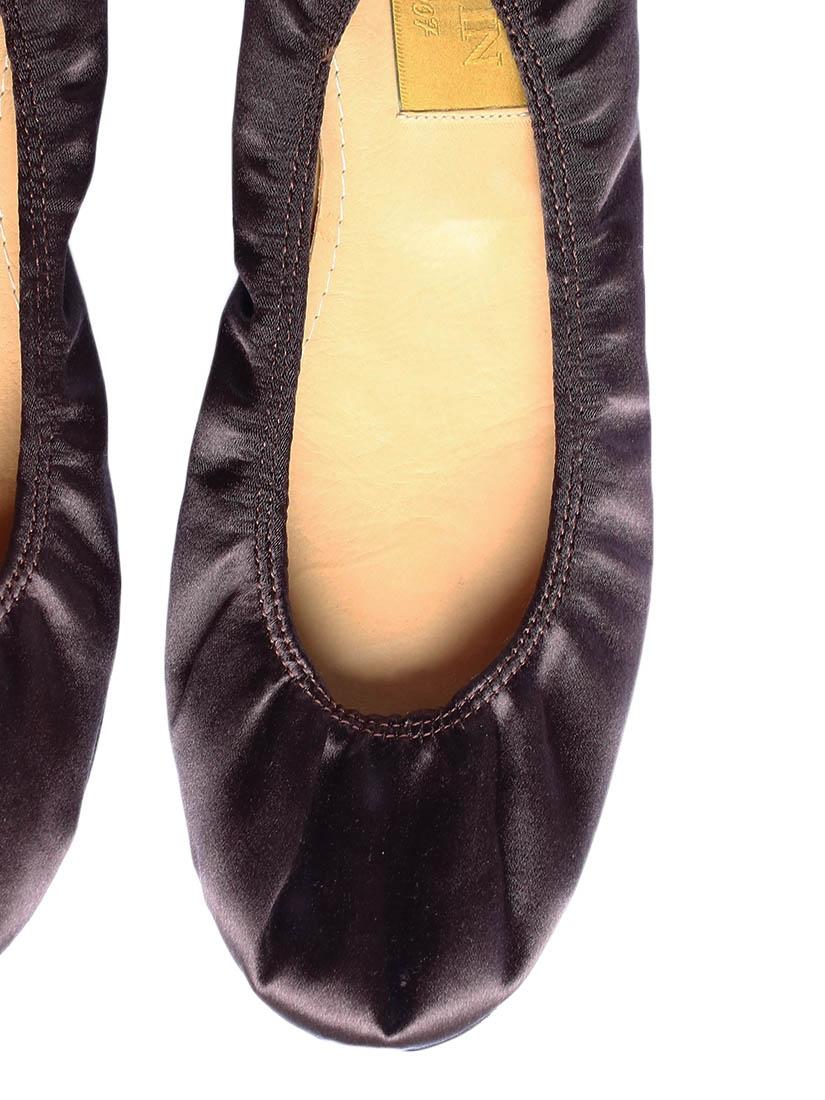 Louise Paris Lanvin Chocolate Brown Silk Satin Flat