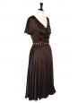 Robe longue en satin de soie marron et ceinture cristaux de verre Px boutique 2000€ Taille 36
