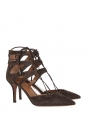 Sandales Belgravia à talon en suede marron foncé Px boutique 565€ NEUVES Taille 38,5