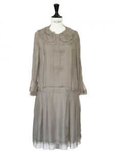 CHLOE Pale khaki silk chiffon pleated dress NEW Retail price €3212 Size 34