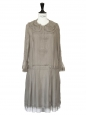 Pale khaki silk chiffon pleated dress NEW Retail price €3212 Size 34