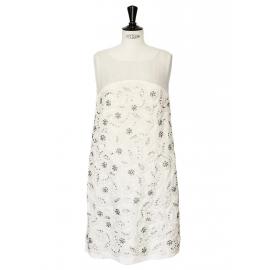 Robe Couture en soie plissée écrue brodée de cristaux Swarovski Px boutique 6000€ NEUVE Taille 34