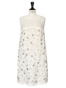 White/ecru pleated silk dress embroidered with Swarovski crystals Retail price over €6000 Size 34