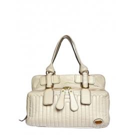 BAY cream ecru leather tote / weekend handbag Retail Price 1400€