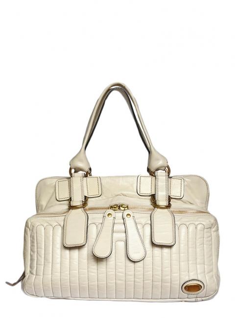 1e3db24496 Louise Paris - CHLOE BAY cream ecru leather tote / weekend handbag Retail  Price 1400€