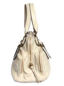 BAY cream ecru leather tote / weekend handbag Retail Price 1400€