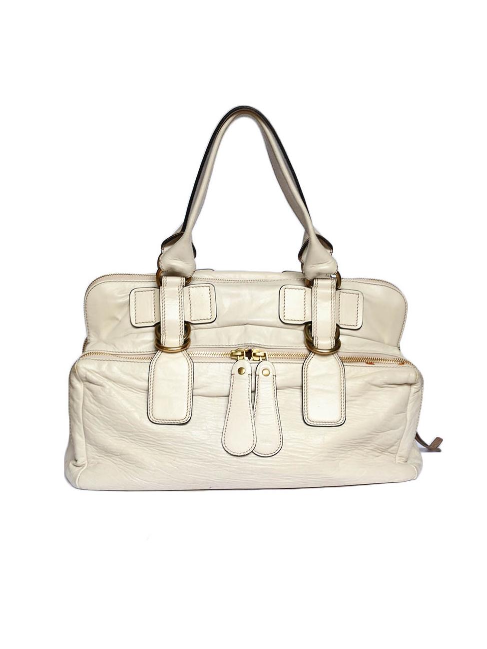Louise Paris - CHLOE BAY cream ecru leather tote / weekend handbag ...