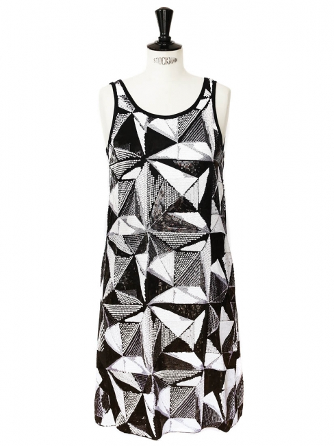 Black and white sequin embellished evening dress Retail price €3000 Size 38