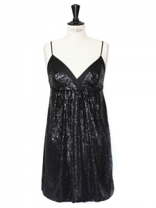 Black sequin short dress Retail price €400 Size 38