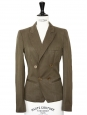Khaki green linen blazer jacket Retail price €500 Size 36