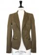 Veste blazer en coton et lin khaki Px boutique 500€ Taille 36