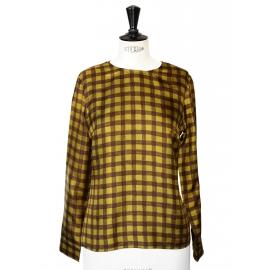 Top manches longues en soie jaune et chocolat Px boutique 550€ Taille 38