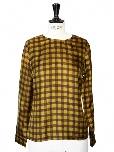 Chocolate brown and yellow silk blouse Retail price €550 Size 38