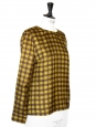 GUY LAROCHE Chocolate brown and yellow silk blouse Retail price €550 Size 38