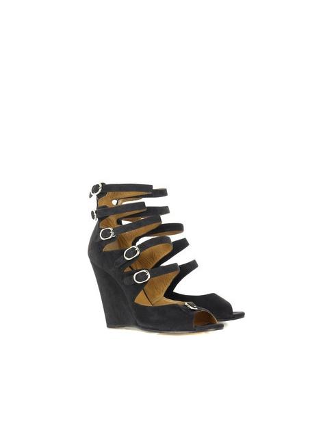 Multi-strap dark grey suede leather wedge sandals Retail price 595€ Size 40,5
