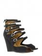 Sandales compensées multi-brides en daim noir gris anthracite Px boutique 595€ Taille 40,5