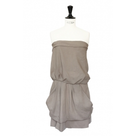 Light khaki green wool, silk and cotton strapless dress Retail price 1000€ Size 36