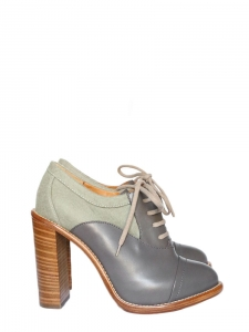 Light green felt and grey leather high heel boots NEW Retail price €625 Size 38