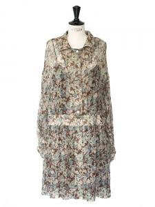 Robe en mousseline de soie imprimé fleuri vert rose brun bleu Px boutique 1000€ Taille 36