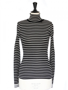 Black and white striped silk turtleneck fine sweater Retail price €850 Size 36