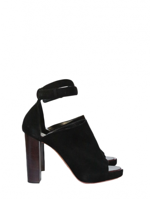 Black suede open toe high heel sandals Retail price €750 Size 39