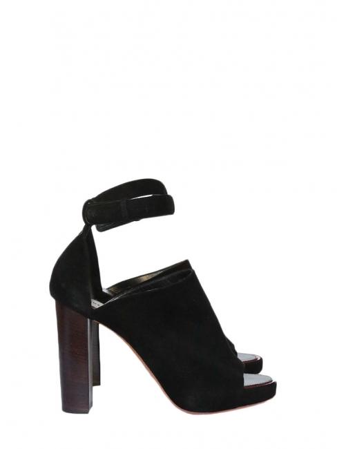 Sandales à talons open toe en suede noir Px boutique 750€ Taille 39