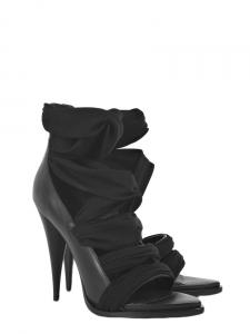 Sandales open toe à talons et sangles en jersey noir Px boutique 670€ Taille 38,5