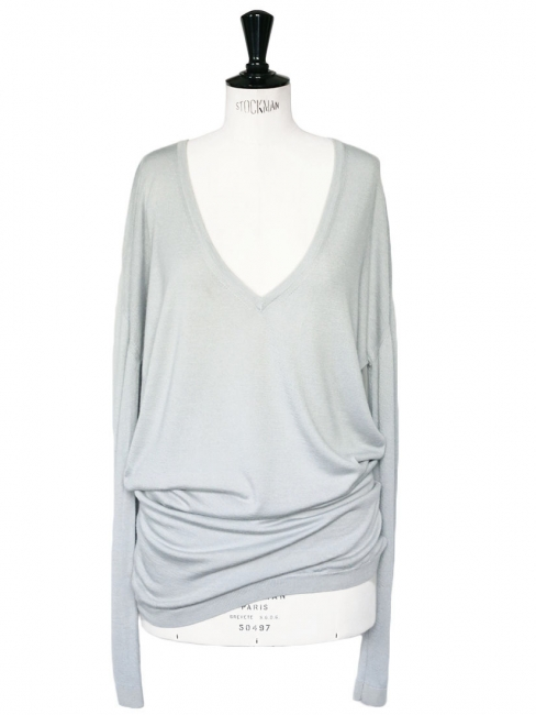 Blue grey cashmere and silk sweater dress Retail price €450 Size 38/40